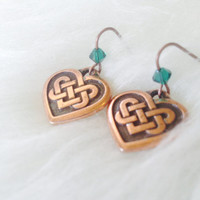 Copper Celtic Heart Earrings - Handmade, Irish, Gaelic, Celtic Knot, Copper Plated, Emerald Green Swarovski Crystal, Dangle, Petite, Love