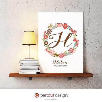 letter H baby nursery art monogram logo personalized gift baby name initial art print DIY printable letter nursery decor initial name art