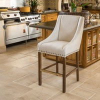 Marcus Natural Fabric Single Bar Stool