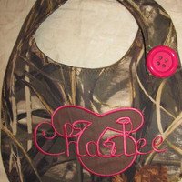 New Handmade advantage max 4hd camo camouflage hot pink bib you choose name and large applique letter