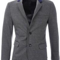 FLATSEVEN Mens Slim Fit 2 Button Stand Up Collar Casual Premium Blazer Jacket