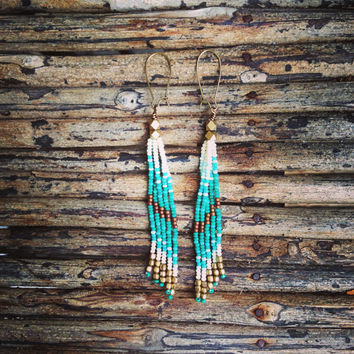 Long Seed Bead Earrings,  Beaded Earrings, Long Fringe Earrings, Native American Inspired