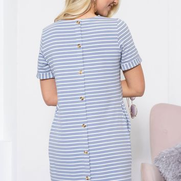Sunshine Button Pocket Dress | Dusty Blue