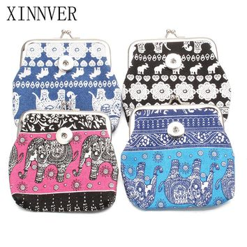 New 4 Colors 18MM Snap Buttons Jewelry Elephant Coin Purses Anime Wallets Pouch Kids Girl Women's Money Bags For Gift ZN019
