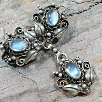 Wonderful Antique Art Nouveau Era A & L Sterling Brooch with Pale Blue Luminescent Moonstones Floral Ornate Design Birmingham English Silver