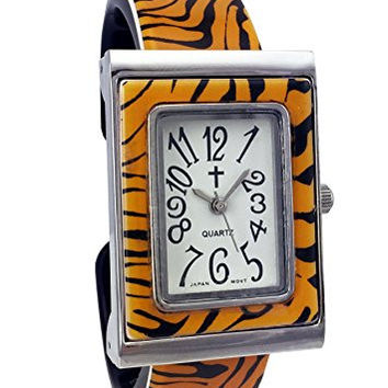 Belief Women's | Tiger Pattern Rectangular Face Plastic Bangle Watch with Cross Logo| BF963701