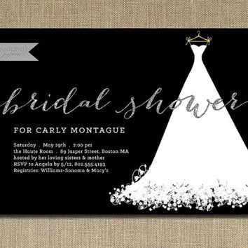 Silver Glitter Bridal Shower Invitation Wedding Gown White Text with Black Modern Sparkly Minimal Printable Digital or Printed - Carly Style