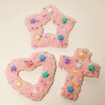 Kawaii Fairy Kei Spank Pop Kei Lolita Harajuku Pastel Goth Soft Grunge Pink Sprinkles Fuzzy Two Way Clips (Assorted Shapes Available)