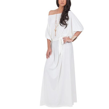 Sexy Women Causal Plus Size 4XL Boat Neck Beach Party Evening Gown Maxi Dresses