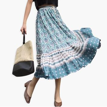 Boho Inspired Maxi Skirt/Blouse (Aqua)