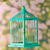 Decorative Metal Birdcage Vintage-Style Plant Candle Holder Home -Turquoise
