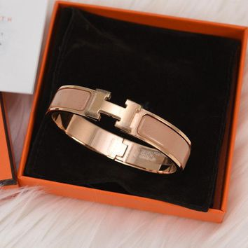 BNIB NEW HERMES CLIC H CLAC ENAMEL BANGLE BRACELET MAKE UP R-GOLD PLATED GM