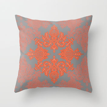 Burnt Orange, Coral & Grey doodle pattern Throw Pillow by Micklyn