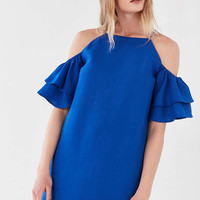 Cooperative Ruffle Cold-Shoulder Linen Dress | Urban Outfitters