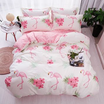 Cool HOT Sale Fashion Luxury pink flamingos Cartoon Printing Double king queen Pattern Bedding sets Duvet cover Flat sheet PillowcaseAT_93_12