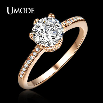 UMODE crown design Rose Gold Plated Classic round zirconia simulated diamond Engagement Finger Rings JR0121A