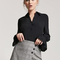 Bell-Cuff Button-Front Shirt