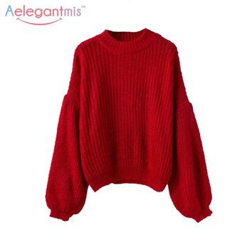 Aelegantmis Loose Knitting Red Sweater Women Knitted Pullovers Puff Sleeve Sweater Female Autumn Winter Knitwear Casual Jumper