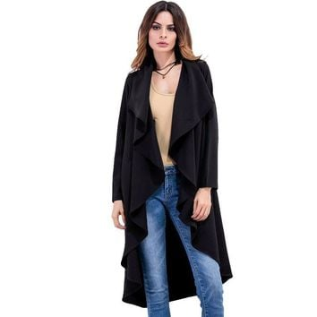 Women Trench 2017 Spring Summer New Fashion Woman Long Sleeve Coat Black Apricot Large Lapel Asymmetric Long Trench Coats