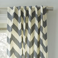 Cotton Canvas Zigzag Curtain - Feather Gray