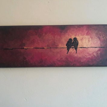 birds on a wire painting