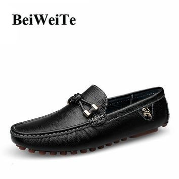 Autumn Men's Genuine Leather Walking Loafers Breathable Wearable Sneakers For Men Light Black Business Driving Party Casual Shoe