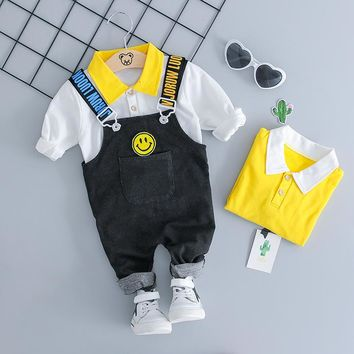 HYLKIDHUOSE 2018 Autumn Girl Boy Clothing Sets Baby Clothes Suits Infant Lapel T Shirt Smiley Face Strap Jeans Kid Child Clothes