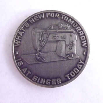1964 1965 Worlds Fair Collectible Singer Sewing Machine Token Silver Coin