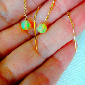 Natural Ethiopian Welo Opal 14k Gold Fill Ear Thread Dangle Drop Earrings; Modern Opal Jewelry; October Birthstone Earrings; Sterling Silver