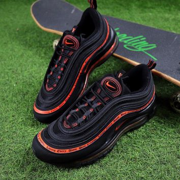 Sale Vlone x Nike Air Max 97 OG QS Black Orange Sport Running Shoes 884421-001