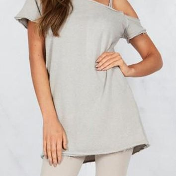 Streetstyle  Casual Grey Asymmetric Shoulder Short Sleeve Fashion Mini Dress
