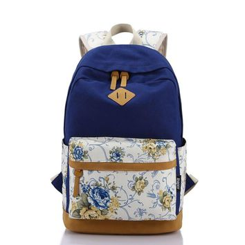 Day-First™ Students Canvas Floral Travel Daughter's College Backpack Daypack Bookbag Teen Girls