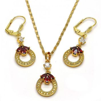 Gold Layered 10.236.0018 Necklace and Earring, Teardrop Design, with Garnet and White Cubic Zirconia, Polished Finish, Golden Tone