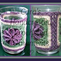 Handcrafted Crocheted Flower Vase or Candle Holder with glass insert