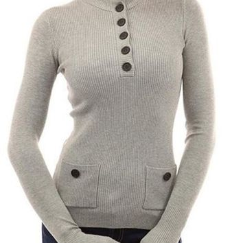 Grey Plain Pockets Buttons Long Sleeve Pullover Sweater