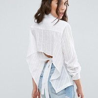 ASOS Shirt in Embroidered Stripe with Bow Back at asos.com