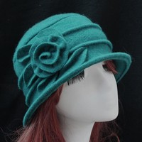 women dome fedora 100% wool hat mom hats for autumn and winter solid floral warm floppy hat Bowler solid warm 6 colors