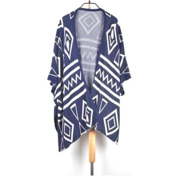 Women's Rhombus Pattern Batwing Sleeve Long-Loose Fit Cardigan Shawl/Cape Sweater