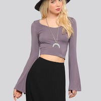Penny Bell Sleeve Crop Top - Mauve - What's New | GYPSY WARRIOR