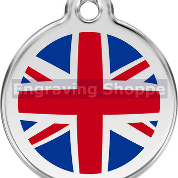 UK Flag Enamel and Stainless Steel Personalized Custom Pet Tag with LIFETIME guarantee ID Tag Dog Tags and Cat Tags Free Engraving