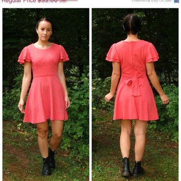 20% OFF SALE 60's / 70's 'Hoot Owl' Salmon Pink Empire Waist Mini Dress. Romantic. Flutter Sleeves. Fit N Flare. Mod. Retro. Boho Xs