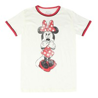 Disney Minnie Mouse Faded Graphic Design Printed Junior Ivory T-shirt