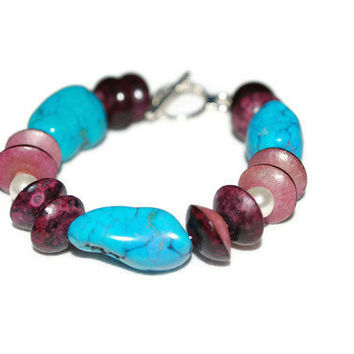 Mauve and Turquoise Nuggets Beaded OOAK Bracelet- Etsy treasury