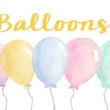 Balloons Watercolor Clip Arts for Scrapbooking Digital Files Kids Birthday Invitation