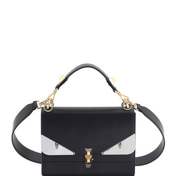 Fendi Kan I Monster Leather Shoulder Bag, Black