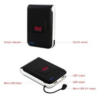 EZOPower Black 5-Port Ultra High-capacity Portable External Rechargable Backup Battey Pack -11000mAh (2A/2A)