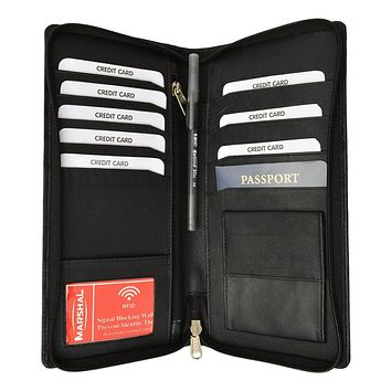 RFID Premium Leather Zipper Travel Credit Card Passport Wallet RFID P 663 (C)