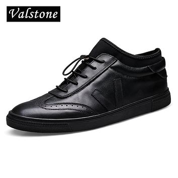 Valstone Men's Genuine Leather shoes Ankle board shoes slip on flats with strainer lace-up and carvings Warm winter snow shoes