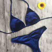 The new sapphire blue velvet halter bikini pure color two piece swimsuit bathing suit set