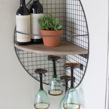 Wire and Wood Wall Corner Shelf